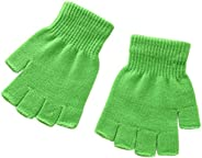 X&F Boys' and Girls' Solid Knitted Fingerless Gloves Half Fi