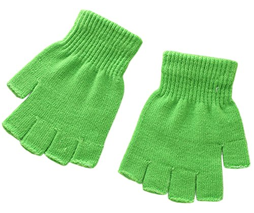 X&F Boys' and Girls' Solid Knitted Half Finger Mittens Typing Gloves, Small, -