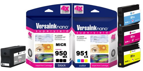 VersaInk-nano HP 950 MX Black MICR Ink Cartridge for Check Printing & 951 CX Color Cartridge