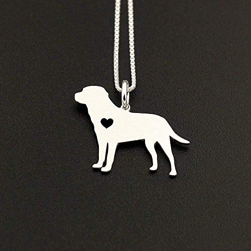 Labrador Retriever necklace sterling silver dog breeds pendant w/Heart - Love Pet Jewelry Italian chain Women Best Cute Gift Personalized - Lab 2