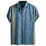 Mens top Men's Colorful Stripe Shirts Summer Short Sleeve Casual Loose Buttons Tee (XL, Blue)
