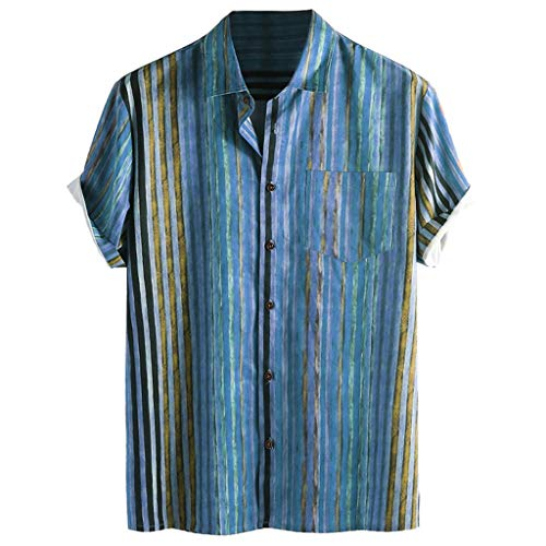 (iHPH7 Hawaiian Shirt Mens Beach Party Casual Holiday Short Sleeve Men's Colorful Stripe Summer Short Sleeve Loose Buttons Casual Shirt Blouse (XXXL,3- Blue))