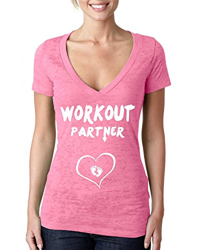 Workout Partner Burnout Vneck Tshirt. V-Neck.Crossover V. (2XL, NEON (Pregancy Workout Clothes)