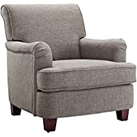 Dorel Living Rolled Top Club Chair Nailheads, Gray