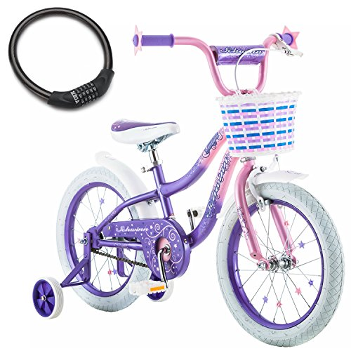 Schwinn Twilight Easy-To-Pedal with Easy Adjustable Seat Post 16-Inch Kids Beginners Training Bike for Girls, Aged 4 to 5 Years with Bike Cable Lock