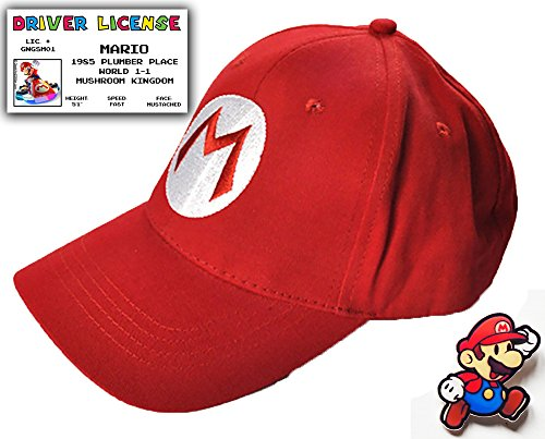 Super Mario Bros Gift Set - Baseball Cap, Driver License & Pin | costume hat