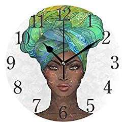 SUABO Wall Clock African American Pretty Girl Round Wall Clock Arabic Numerals Design for Living Room Bathroom Home Decorative