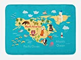 Lunarable Map Bath Mat, North America Continent Geography with Nursery Cartoon Indigenous Animals and Oceans, Plush Bathroom Decor Mat with Non Slip Backing, 29.5 W X 17.5 W Inches, Multicolor