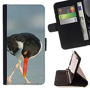 - seagull beak sea summer nature bird - - Prima caja de la PU billetera de cuero con ranuras para tarjetas, efectivo desmontable correa para l Funny HouseFOR Apple Iphone 5 / 5S