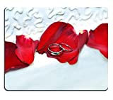 Liili Mouse Pad Natural Rubber Mousepad IMAGE ID: 15111994 Wedding bands lay on red rose petals on the icing of a wedding cake One band lays on top of the other