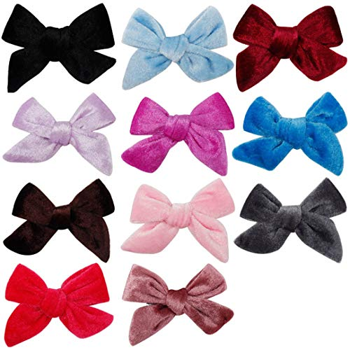 11Pcs/Lot Hair Accessories Solid Velvet Hair Bows Lovey Hair Clips For Girls/Kids Hairgrips Handmade Bow-Knot Hairpins Headwear Multi color-11pcs
