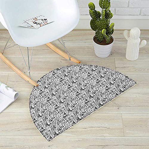 Letter Semicircular Cushion Greyscale Illustration of Numbers Letters Collage Alphabet Composition Entry Door Mat H 47.2'' xD 70.8'' Pale Grey Black White by homehot (Image #4)