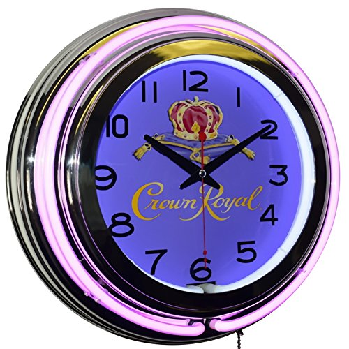 Crown Royal Whisky Logo Purple Double Neon Advertising Clock Man Cave Bar Decor