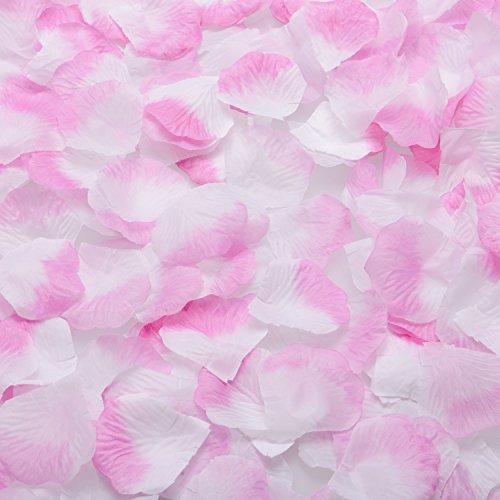 TSLIKANDO 2000PCS Pink White Silk Rose Petals Artificial Flower Wedding Party Vase (White Pink Petal)