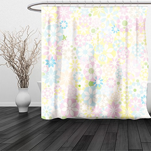 HAIXIA Shower Curtain Pastel Blossoming Flowers Plants Spring Colors Botanical Colorful Meadow Theme - Johnson Dwayne Sunglasses