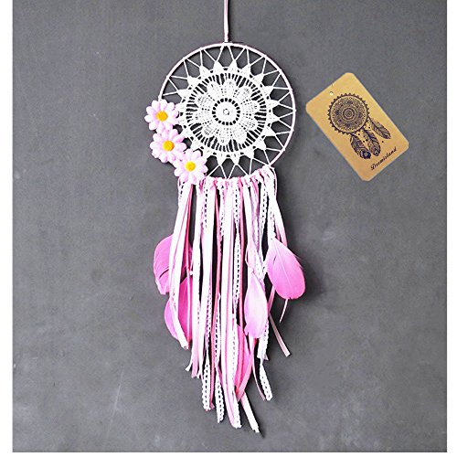 Dremisland Dream catcher handmade traditional white feather dream catcher wall hanging car hanging decoration ornament gift (PINK FLOWER)