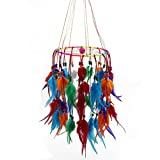 Jescrich Handmade Wall Hanging Decor Large Dream Catcher with Feathers Ornaments for Bedroom Long 19.7'' (Colorful, one circle)