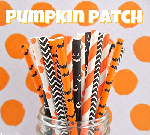 Charmed orange and black Halloween paper straw in pumpkin jack o lantern, bat, polka dot, chevron, stripe design. Pack of 125 (Halloween Stripe Paper)