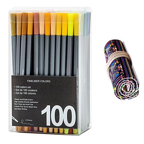 WOWENWO Fineliner Color Pen,Set of 100 Assorted Colors,0....