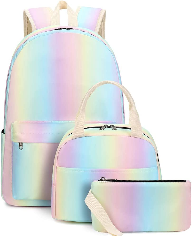 16.5 Lightweight Durable School Bags Bookbag Backpacks For Kids Teen,Cute Donut Rides On Rainbow Unicorn College School Book Shoulder Bag Travel Daypack For Boys Girls Man Woman