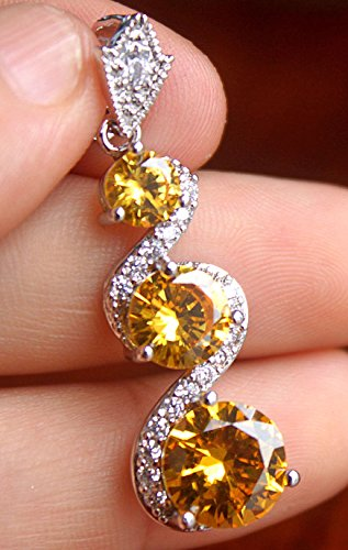 Phonphisai shop 18K White Gold Filled - 10MM Citrine Topaz Swirl Hollow Wedding Gemstone Pendant