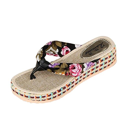 Womens Sandals For Summer Anshinto Women Wedge Platform Thong Flip Flops Beach Casual Slippers Shoes