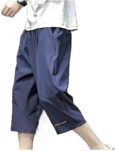 AngelSpace メンズ プラスサイズ 3/4 パンツ アクティブ ファッション サマー ワイド レッグ パンツ