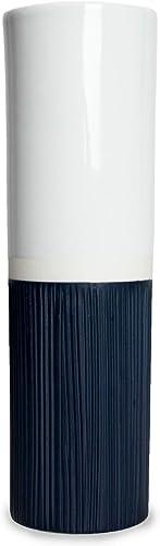 RoRo Medium Ceramic Stoneware Two Toned Blue White Tall Cylindrical Vase