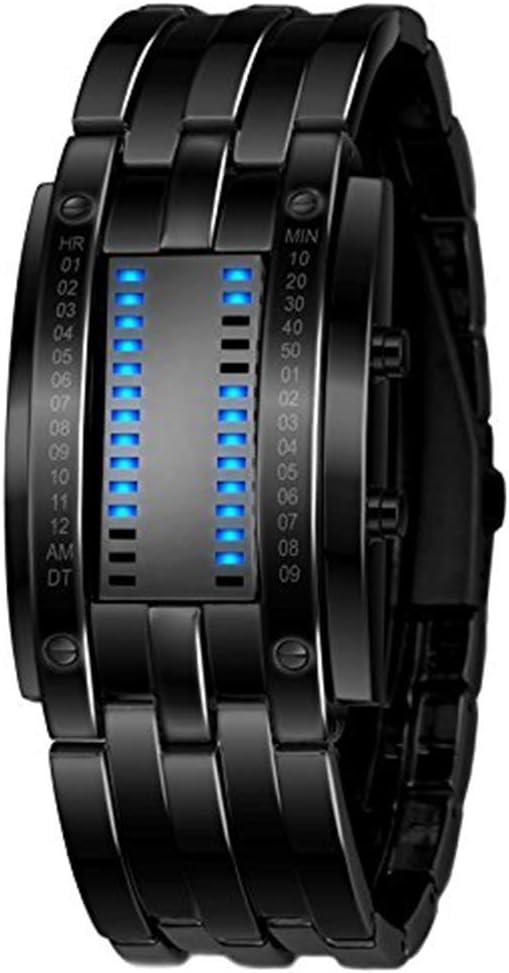 Enfriar Binario Digital Relojes Negro de Acero Inoxidable única Matriz de LED Azul Creativo de la Manera estudiantiles Pareja Impermeable Relojes de Pulsera Peng (Size : Women)