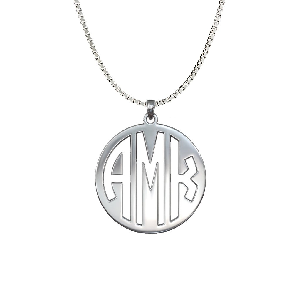8f9d5d729560 Amazon.com  Ouslier 925 Sterling Silver Personalized Disc Monogram Necklace  Pendant Custom Made with 3 Initials (Silver)  Jewelry