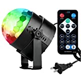 COIDEA Disco Lights Disco Ball Party Lights New Generation Karaoke Machine 3W Dj Light Stage Light 7 Colors Sound Activated Strobe Light for Festival Bar Club Party Outdoor and More(with Remote)