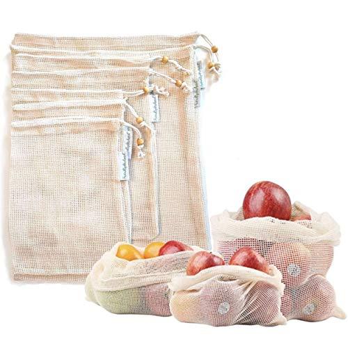 Friendly Orchard Reusable Produce Bags - Plastic Free Vegetable Shopping & Storage - Washable Cotton Mesh Fruit Saver - Tare Weight & Drawstring Double-Stitched Sustainable Market Veggie Bag-Set of 7 (Peak Fresh Produce Bags)