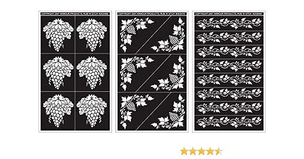 Rub N Etch Designer Stencils 5x8 3//Pkg-Grape Designs