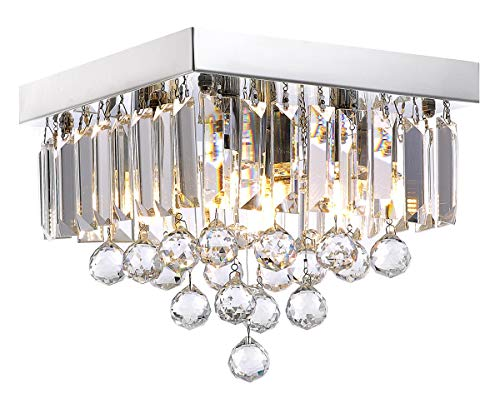 "Siljoy Crystal Chandelier Lighting for Hallway Modern Raindrop Design Ceiling Light W10"" x H9"""