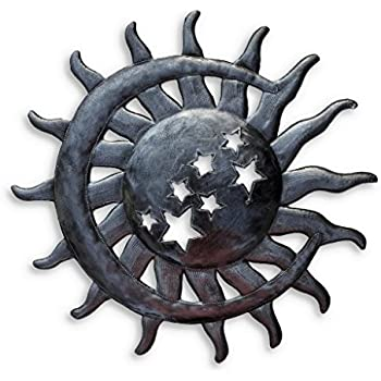 Sun and Moon, Metal Wall Hanging Art, Eclectic Home Decor, Handmade Moon, Sun, Stars, Haitian Decorative Accents for Your Home 14 in. x 14.5 in.