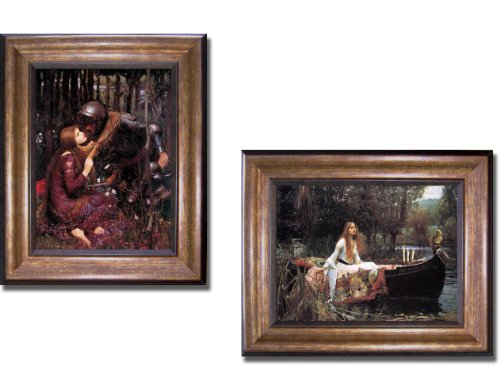 La Belle Dame Sans Merci & The Lady of Shalott by Waterhouse 2-pc Premium Bronze Framed Canvas Set - Merci Belle Sans Framed Dame