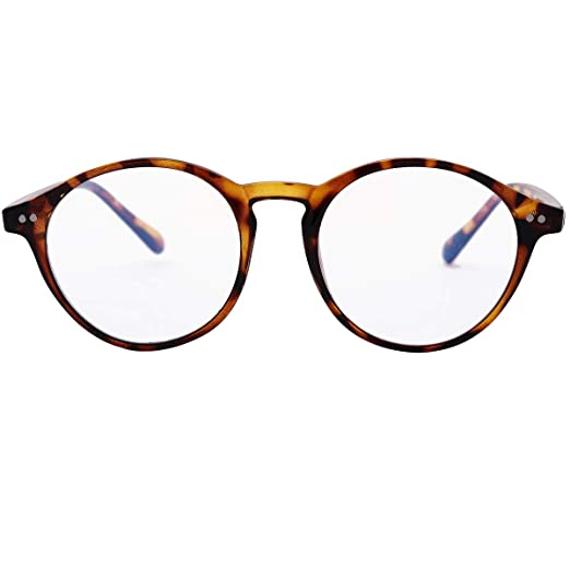 Reading Glasses Blue Light Blocking for Women Men- Round Nerd Eyeglasses Anti Blue Ray Blue Light Blocking Reading Glasses (Leopard, 2.50x)