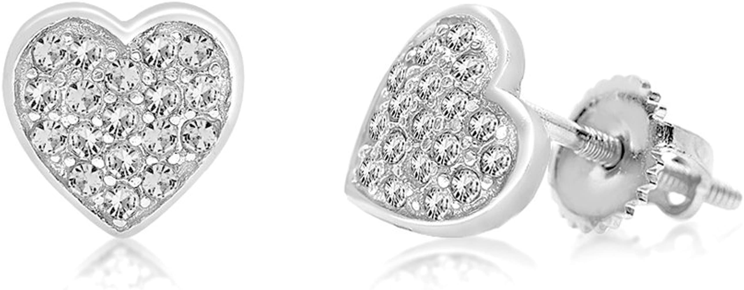 b0b60220ccd9b Kids Baby Girl Earrings With Swarovski Elements 925 Sterling, White Gold  Tone (Clear)