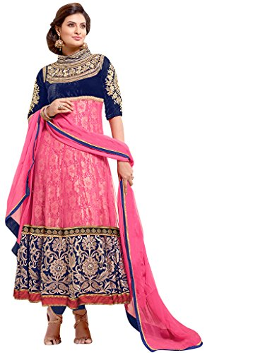 Vibes Women's Pure Georgettea-Line Un-Stitched Salwar Kameez Free Size Pink, Free Size