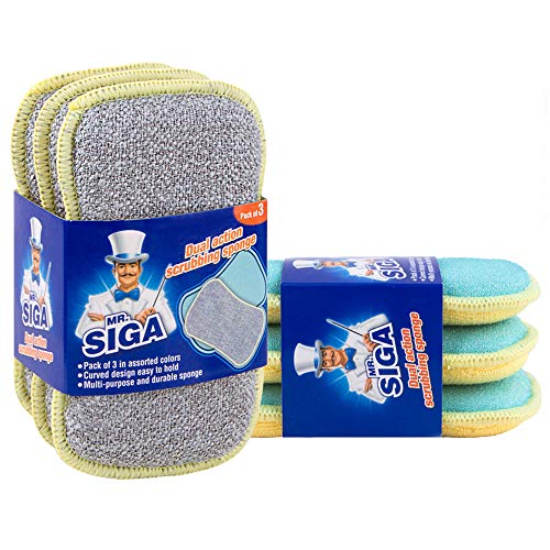 (MR. SIGA Dual Action Scrubbing Sponge, Pack of 6, Size:15x8.5x2.3cm)
