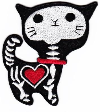 Katze mit Herz als Skelett  gestickt  Aufbügler Aufnäher Patch  NEU