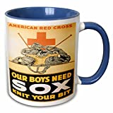3dRose BLN Vintage World War I and World War II Posters - Vintage American Red Cross Our Boyx Need Sox Knit Your Bit - 11oz Two-Tone Blue Mug (mug_149402_6)