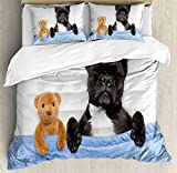 Animal Decor Duvet Cover Set by Ambesonne, French Bulldog Sleeping with Teddy Bear in Cozy Bed Best Friends Fun Dreams Image, 3 Piece Bedding Set with Pillow Shams, Queen / Full, Multi