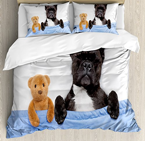 Ambesonne Animal Decor Duvet Cover Set by, French Bulldog Sleeping with Teddy Bear in Cozy Bed Best Friends Fun Dreams Image, 3 Piece Bedding Set with Pillow Shams, Queen/Full, - Bulldogs Queen Comforter