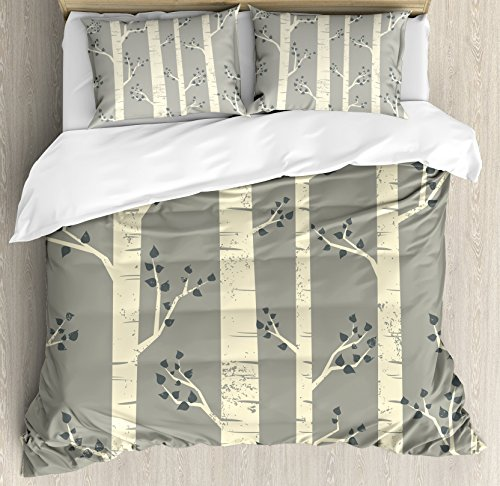 Ambesonne Grey Duvet Cover Set Queen Size, Birch Tree Branches Vintage Bohemian Contemporary Illustration of Nature Theme, A Decorative 3 Piece Bedding Set with 2 Pillow Shams, Warm Taupe Pale Yellow (Duvet Tree Birch)