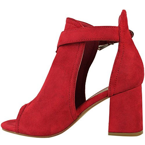 Womens Heels High Thirsty Fashion Red Open Boots Block Party Mid Size Suede Faux Shoes Toe Chunky 5angq