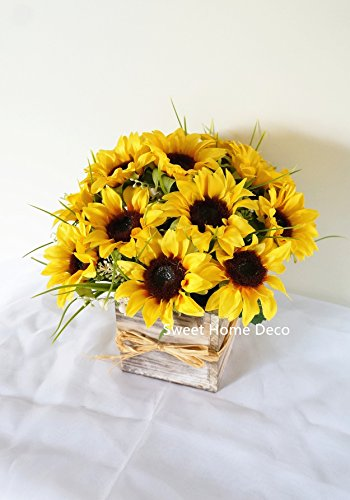 Sweet-Home-Deco-Silk-Sunflower-Artificial-Flower-BouquetFlower-Boutonniere-Wedding-Flowers-Yellow-Arrangement-wWooden-Vase