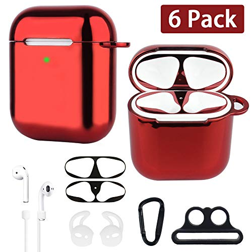 XORDING AirPods Case Plating Soft TPU Protective Cover Shockproof Skin Airpods Accessories Kit for Apple AirPods 1 & AirPods 2 Charging (Red) ()