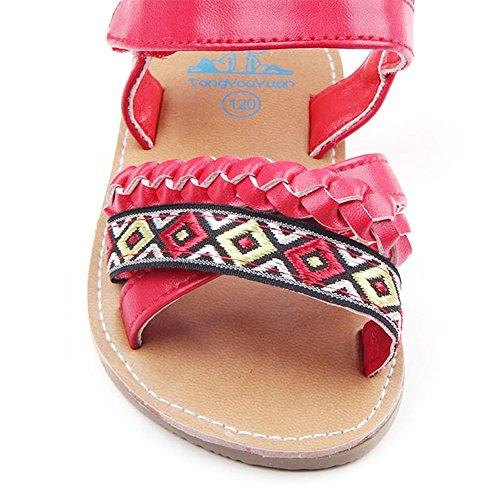etrack-online bebé niñas piel sintética goma suave soled exterior Verano Sandalias Zapatos negro negro Talla:12-18month rosso