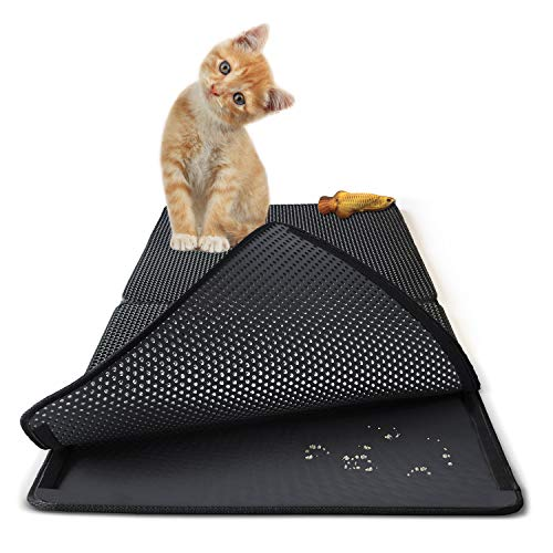 Relarr Cat Litter Mats Trapping Pads, Honeycomb Double Layer Waterproof Urine Proof, Foldable pad for decentralized Control for Litter Box, Easy Clean Washable EVA Material ()